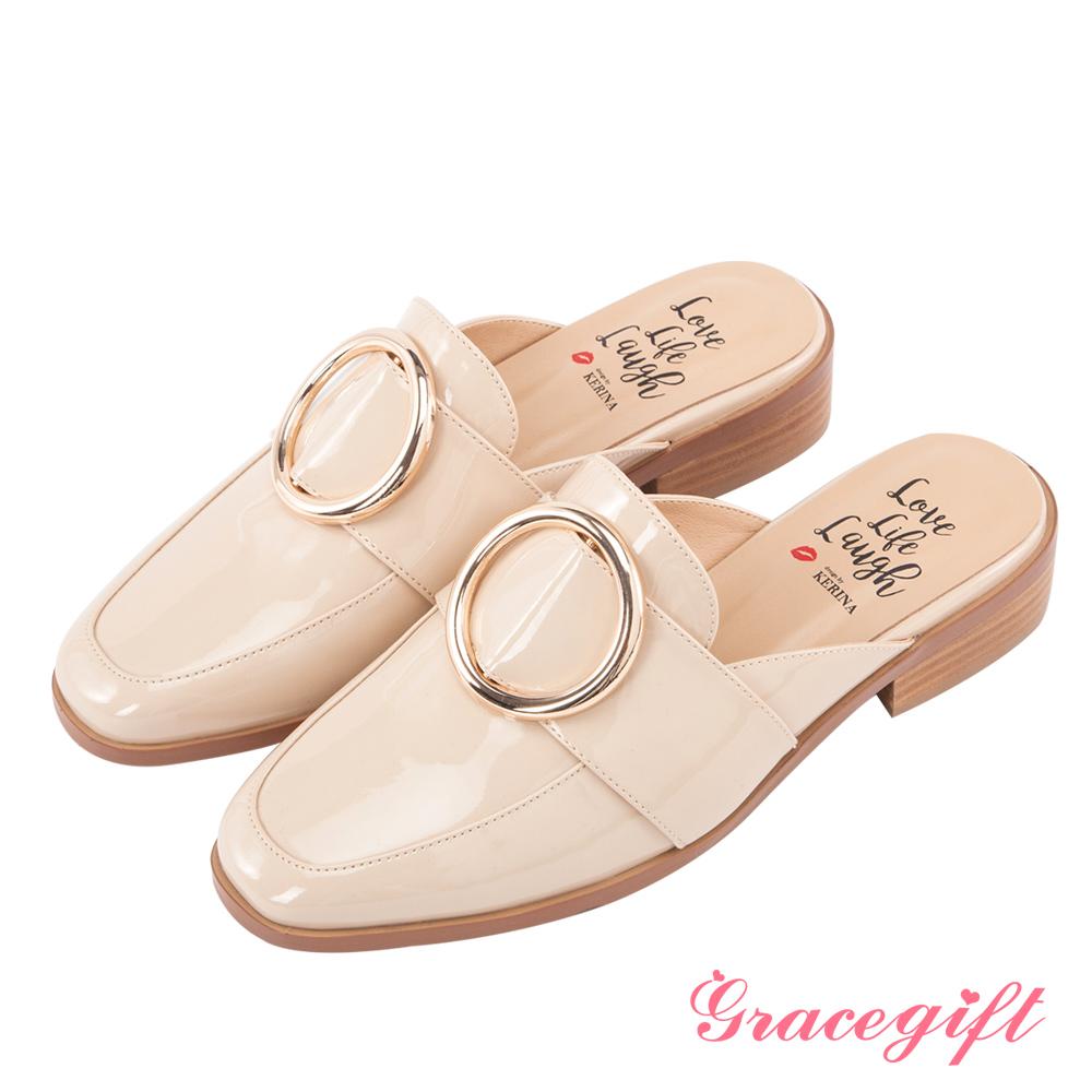 Grace gift X Kerina妞妞-歐美金屬大圓環紳士穆勒鞋 杏漆