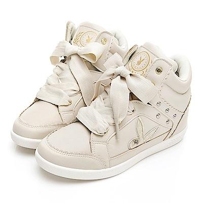PLAYBOY 花邊兔兔內增高休閒鞋-米-Y571533