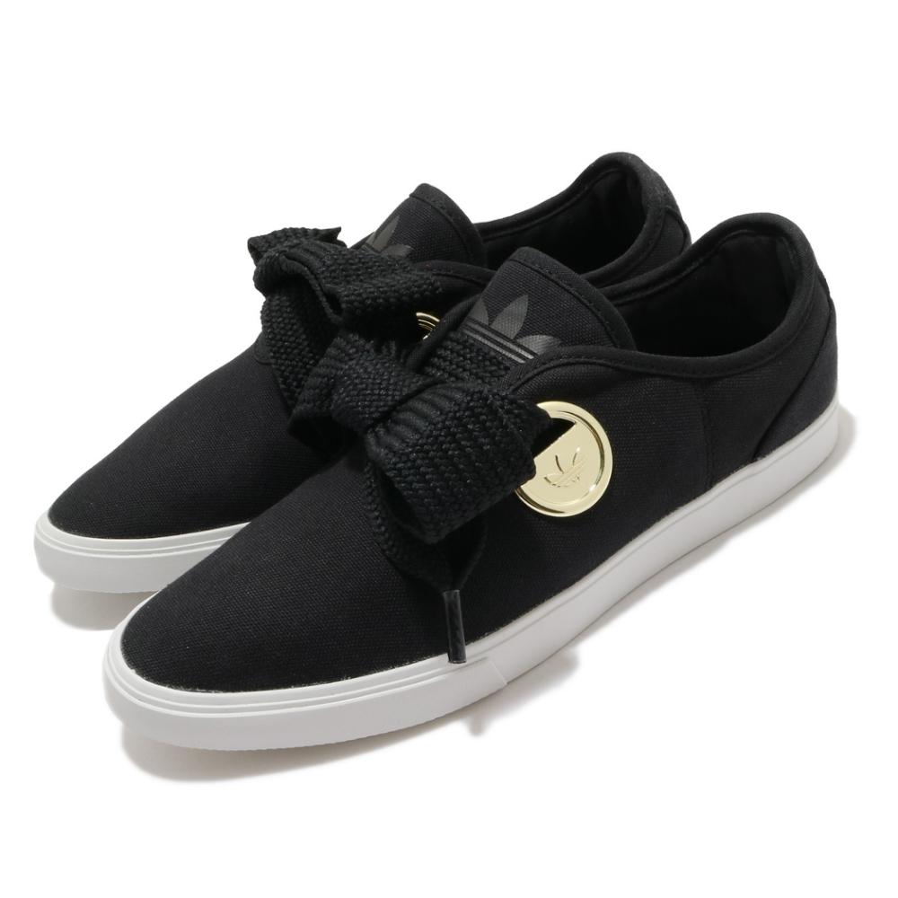 adidas 休閒鞋 Sleek LO W 復古 女鞋 愛迪達 三葉草 流行款 極粗鞋帶 黑 金 FV0741