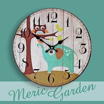 【Meric Garden】風格仿舊裝飾壁掛式時鐘/壁鐘/掛鐘(森林小象)