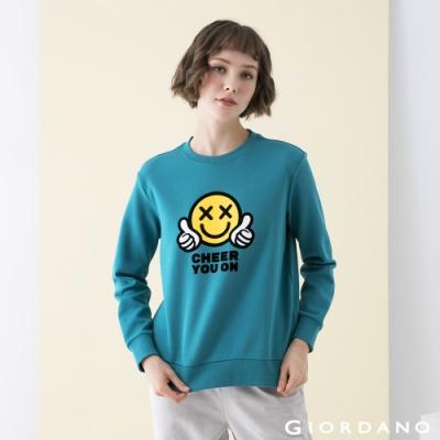 GIORDANO  女裝CHEER YOU ON大學T恤 - 04 港口綠