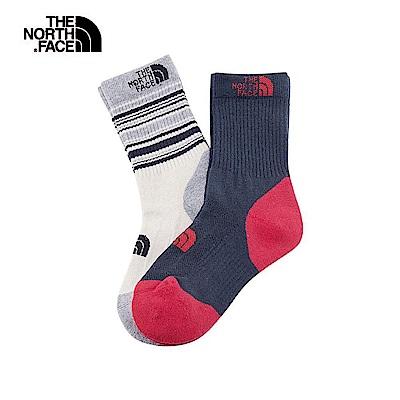 The North Face北面男女款藍白色吸濕排汗運動襪2雙裝|39W6D8M