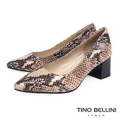 Tino Bellini 真皮立體神祕蛇紋尖頭中跟鞋 _ 蛇紋膚