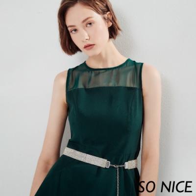 SO NICE都會時尚拼接微透膚雪紡洋裝
