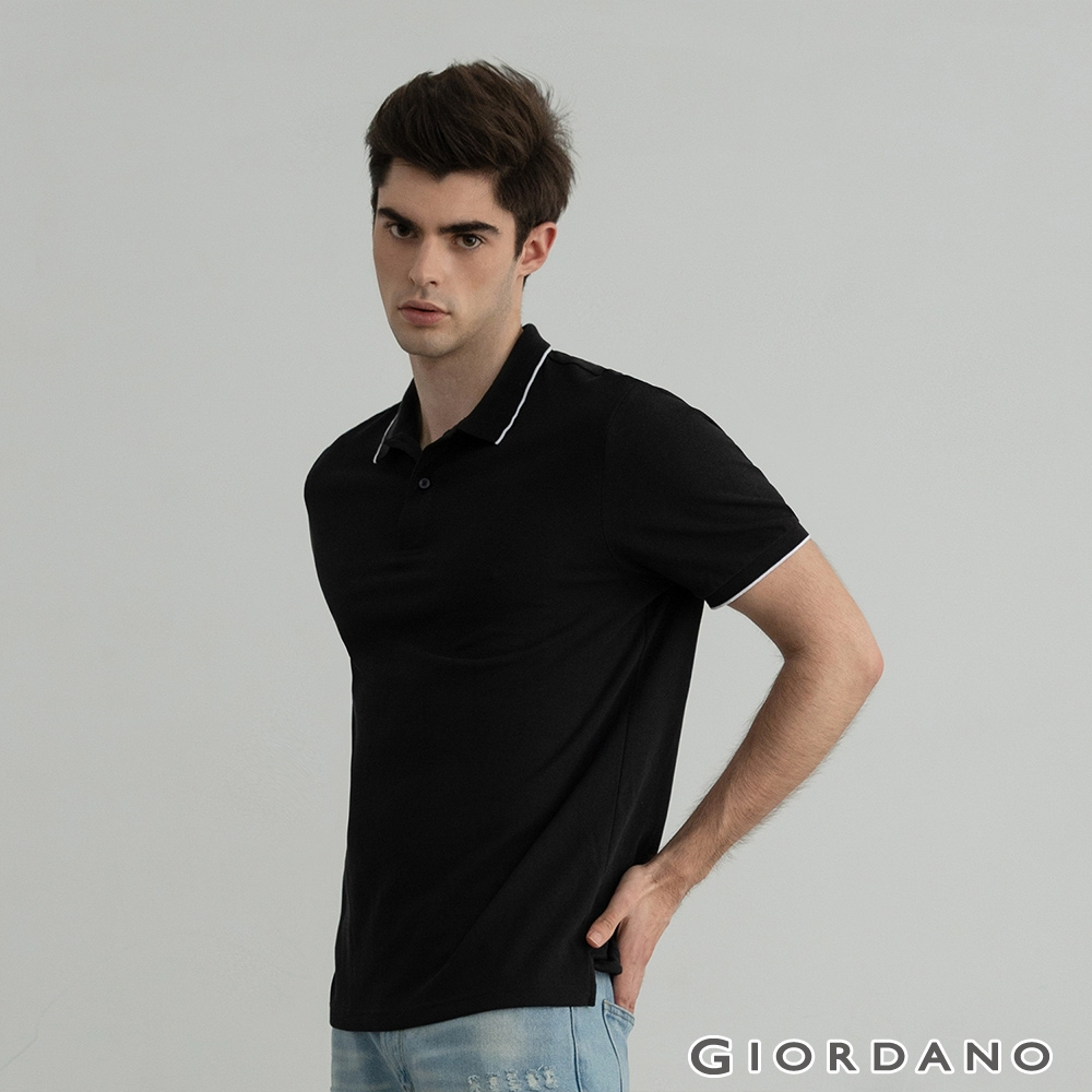 GIORDANO 男裝冰氧吧涼感抗菌POLO衫 - 02 黑色