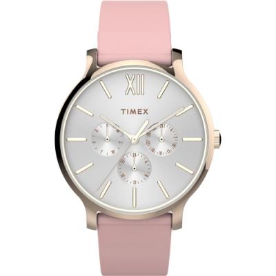 TIMEX 天美時 復刻系列 三顯仕女手錶- 白x粉紅/38mm