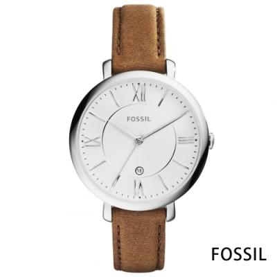 FOSSIL 靜褐拾光氣質羅馬數字皮革女錶(ES3708)-白/36mm