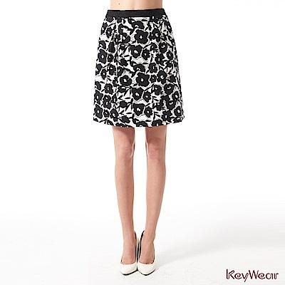 KeyWear奇威名品    優雅淑女滿版印花腰間蕾絲中庸裙-黑色