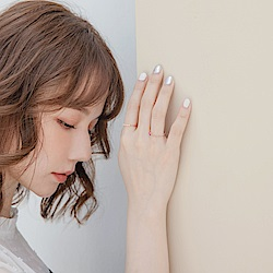 簡約氣質粉色愛心鋯石玫瑰金二入戒指組-OB大尺碼