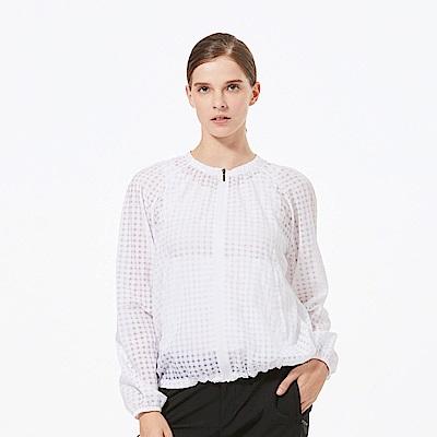 【HAKERS 】女 抗UV防潑格紋外套-白色