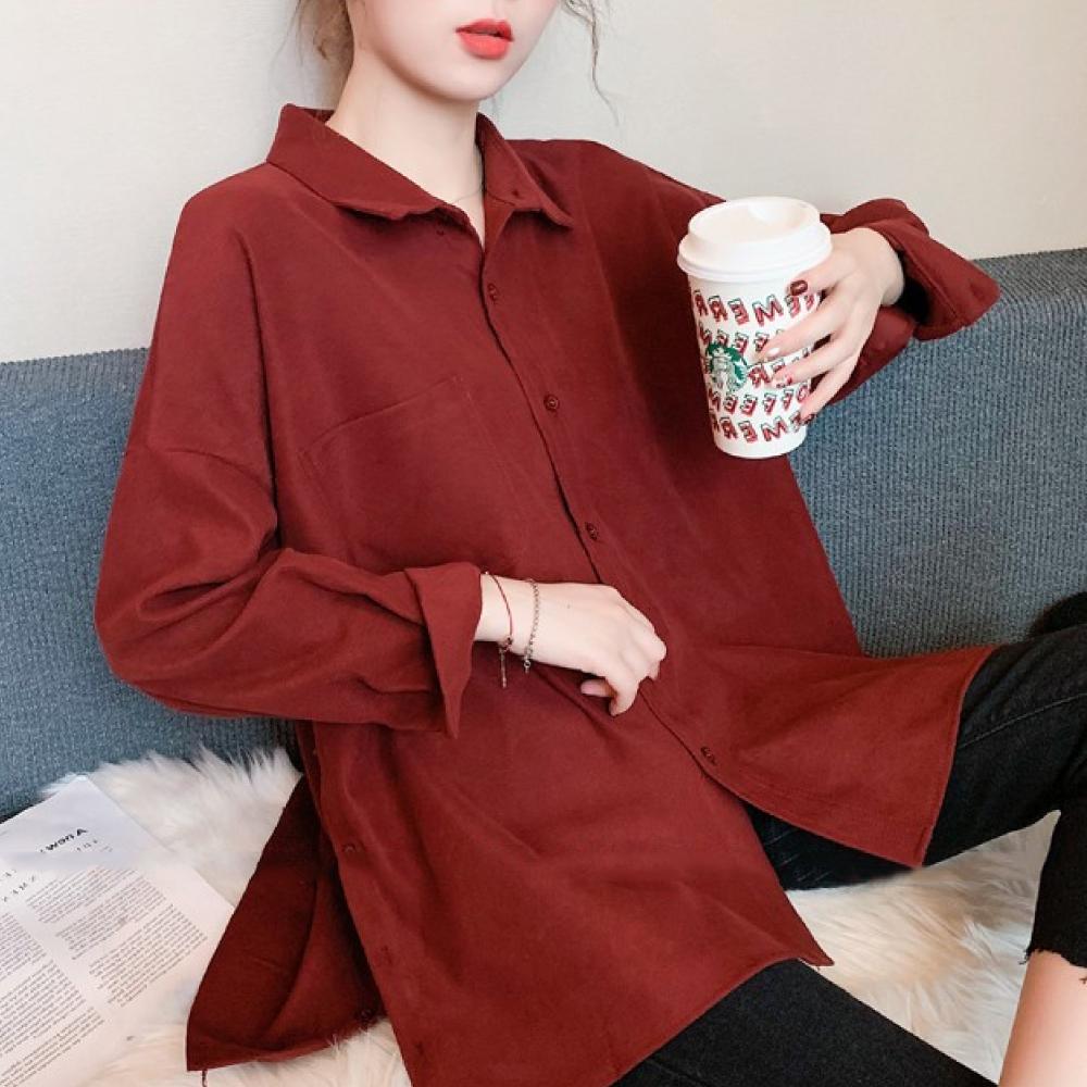 中大尺碼素色單口袋燈芯絨側開叉排釦長版襯衫L~4L-Ballet Dolly (紅色)