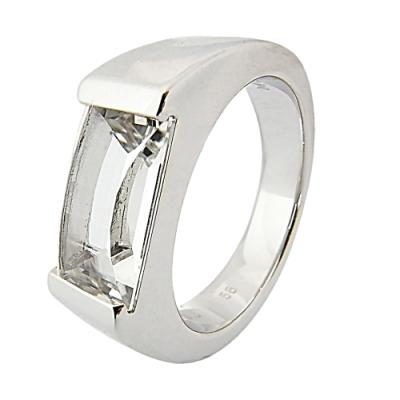 萬寶龍MONTBLANC 壓印LOGO透明寶石鑲飾寬版戒指(銀)