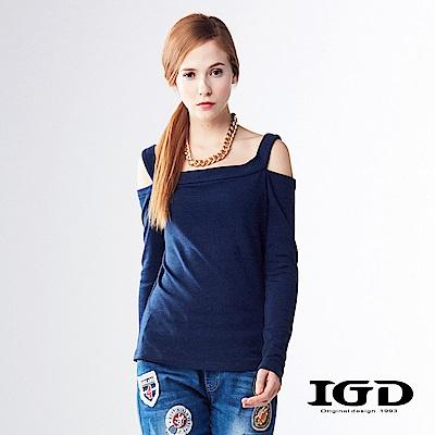 IGD英格麗簡約素面露肩修身造型上衣-深藍