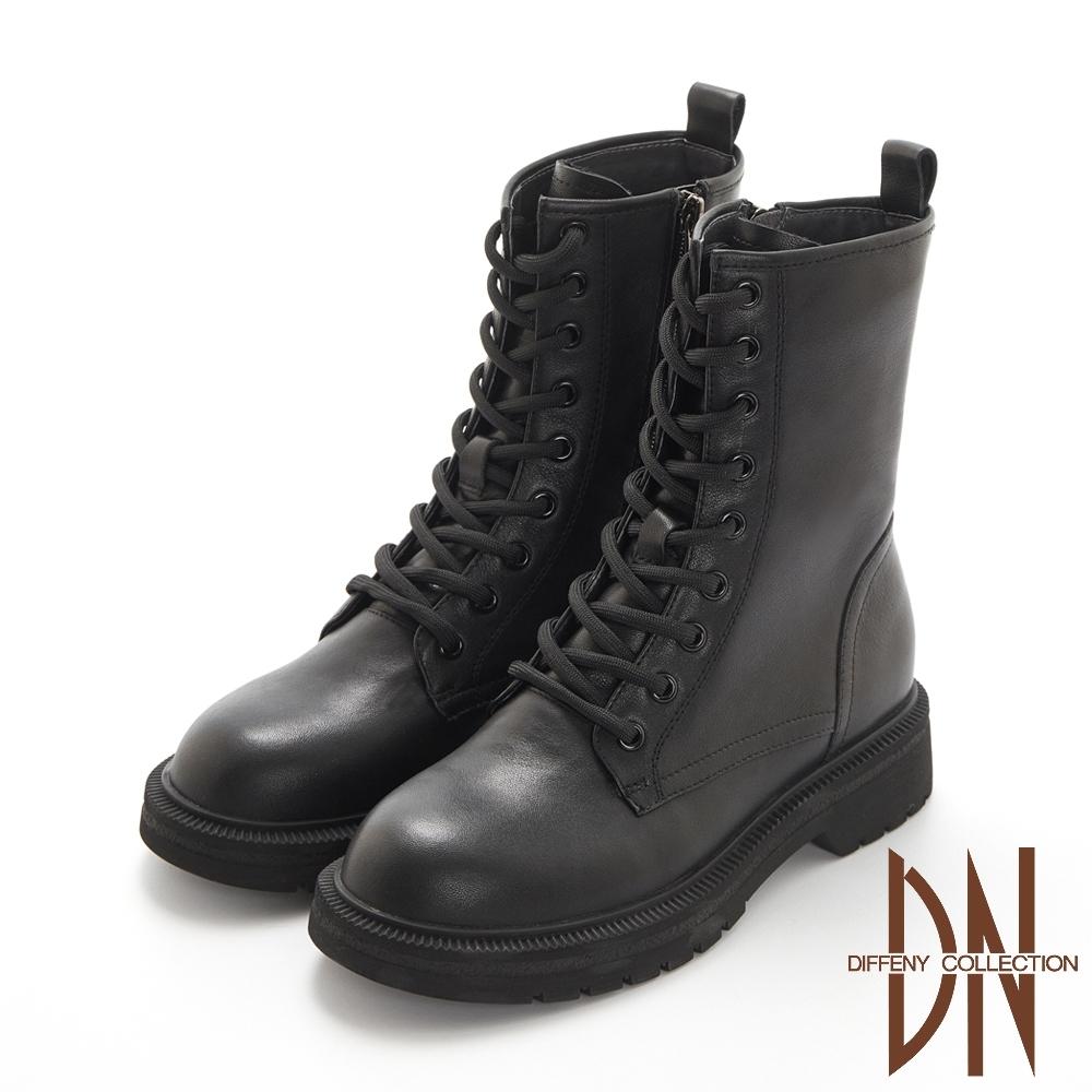 DN短靴_質感牛皮綁造型經典厚底馬汀靴-黑