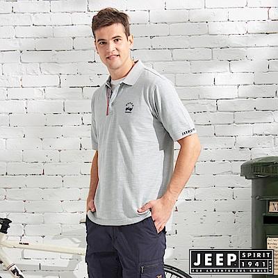 JEEP 復古造型素面短袖POLO衫-灰色