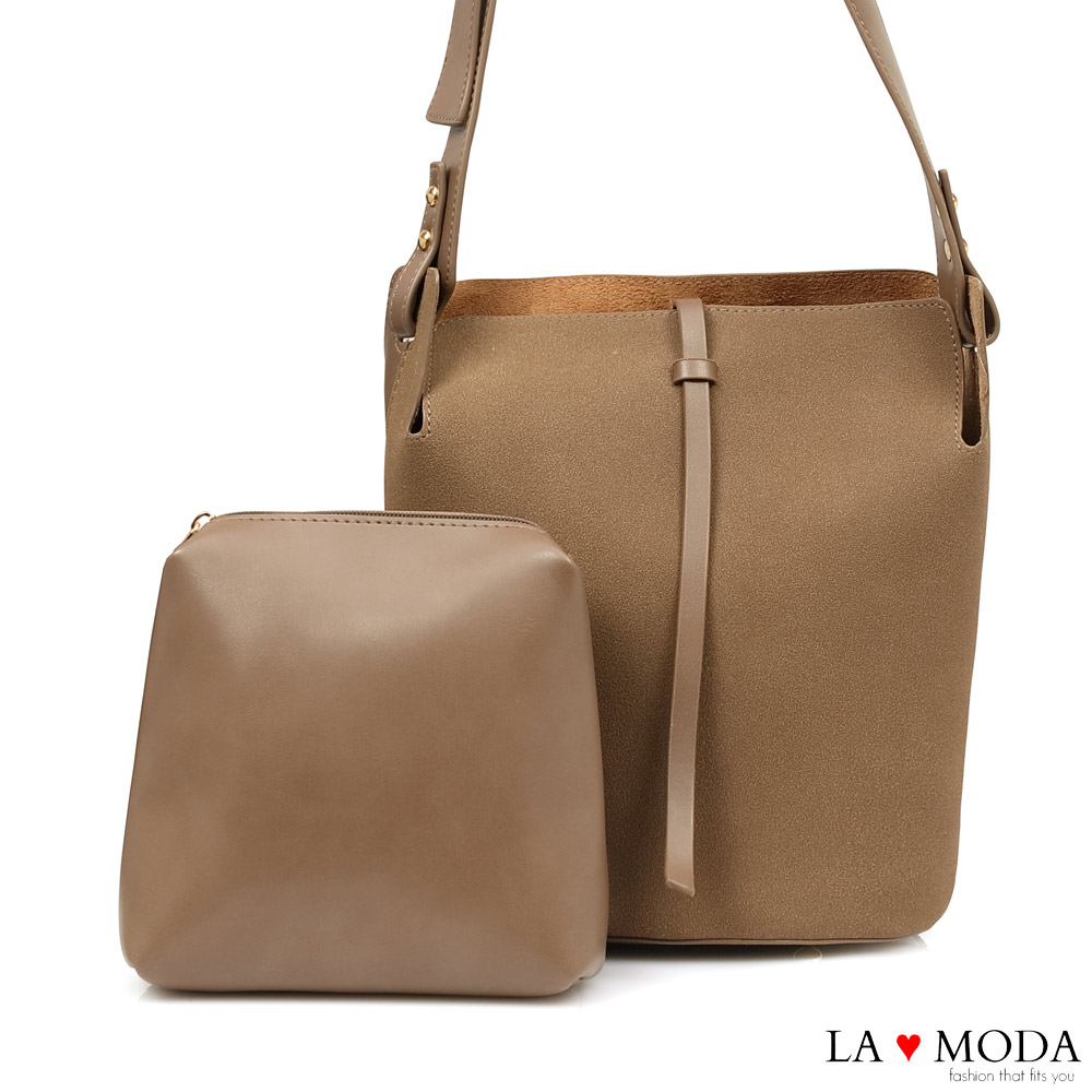 La Moda 極簡設計風異材質拼接肩背斜背子母包(棕)