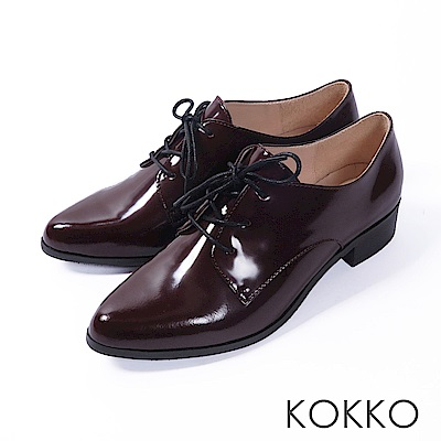 KOKKO -英國午茶經典綁帶真皮尖頭鞋-溫醇紅