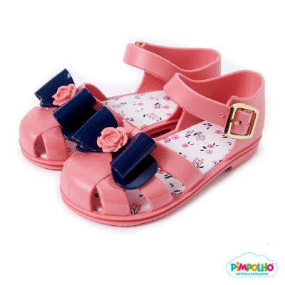 Pimpolho 玫瑰蝴蝶結鏤空小童鞋-粉橘/藍