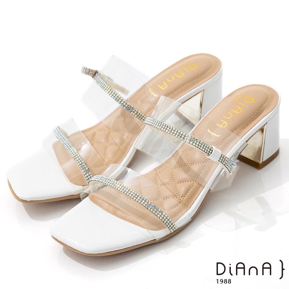 DIANA 6cm 糖果漆皮透明PVC方頭涼拖鞋-夏日風情-白