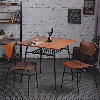 一桌二椅工業風復古微笑餐桌椅組合(桌75x75x73cm)
