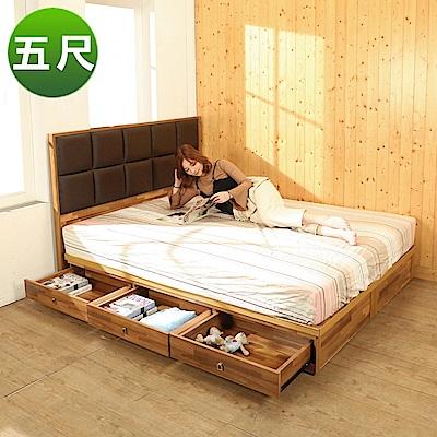 BuyJM拼接木系列雙人5尺2件式房間組(皮革床頭片+6抽床底)-免組