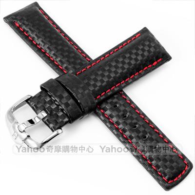 海奕施 HIRSCH Carbon L 碳纖維皮革錶帶-黑
