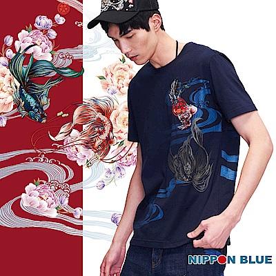 日本藍 BLUE WAY  日本藍鬥魚精繡短TEE (藏青)