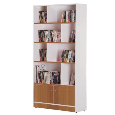 文創集 巴卡環保3尺塑鋼二門開放式書櫃(六色可選)-90x45x180cm免組