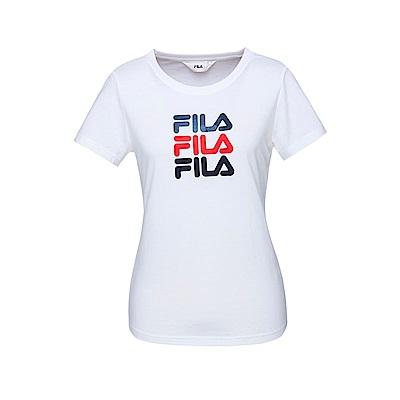 FILA 女款短袖圓領T恤-白色 5TET-1522-WT