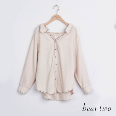 bear two- 造型寬領素色襯衫 - 杏