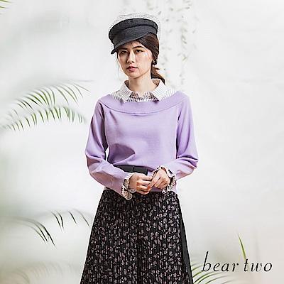 beartwo 假兩件式襯衫針織上衣(黑色)
