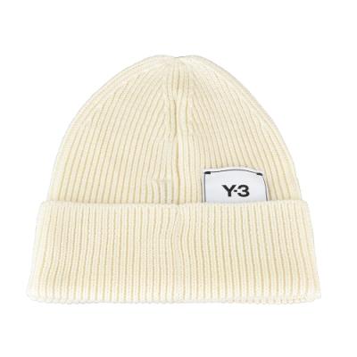 Adidas Y-3 CLASSIC BEANIE標籤LOGO針織毛線帽(純白)