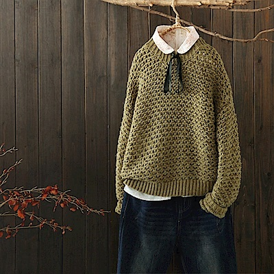 鏤空絞紋慵懶自然寬鬆套頭毛衣內搭針織線衫-設計所在