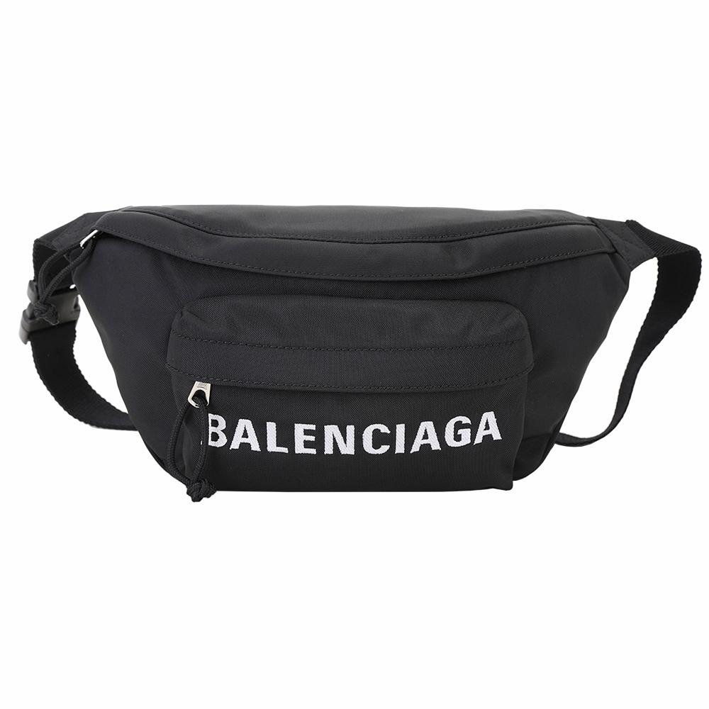 BALENCIAGA WHEEL 刺繡字母尼龍胸肩背/腰包(黑色)