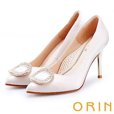 ORIN 晚宴婚嫁首選 閃耀鑽飾百搭金屬尖頭高跟鞋-粉色