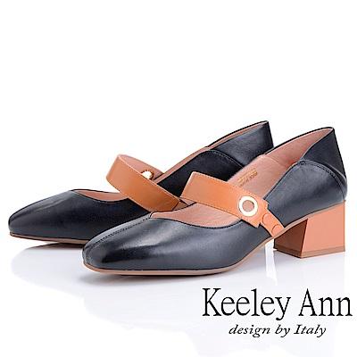 Keeley Ann慵懶盛夏 撞色扣帶方頭中粗跟瑪莉珍鞋(黑色-Ann系列)