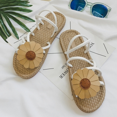 KEITH-WILL時尚鞋館 迷情花朵波西尼亞拖鞋 白