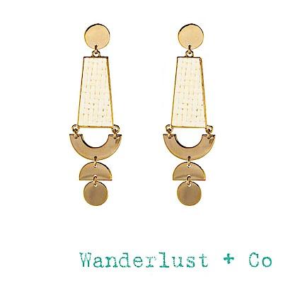 Wanderlust+Co 澳洲品牌 象牙白編織垂墜式耳環 金色耳環 LILIA