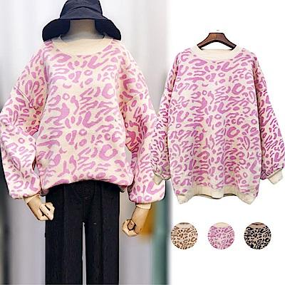 DABI 韓系慵懶風豹紋針織衫長袖上衣