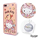 三麗鷗 Kitty iPhone8/7/6s Plus 施華彩鑽鏡面指環扣手機殼-緞帶凱蒂
