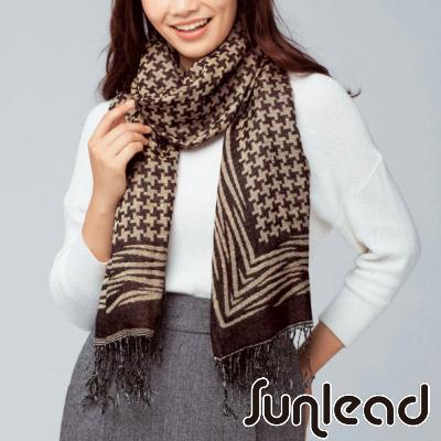 Sunlead 日系經典緹花織紋流蘇滾邊長版圍巾/披肩