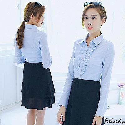 EELADY-OL胸前荷葉線條長袖襯衫(藍色)