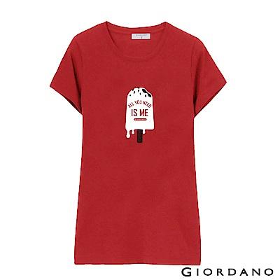 GIORDANO 女裝假期休閒印花T恤-63 高貴紅