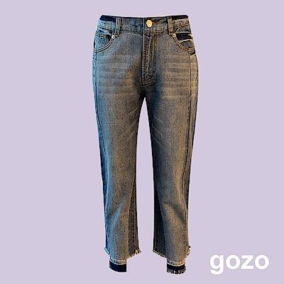 gozo 破壞剪裁鬚邊拼接水洗丹寧褲(藍色)