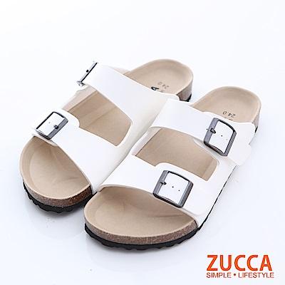 ZUCCA-雙帶輕量皮革休閒拖鞋-白-z6624we