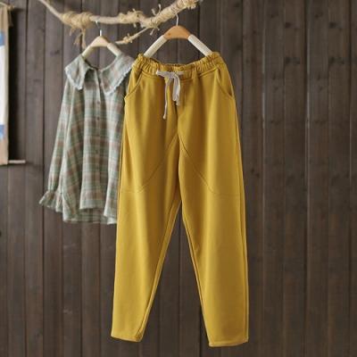 素色棉質拼接抽繩繫帶鬆緊腰休閒寬鬆哈倫長褲-設計所在