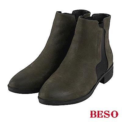 BESO 低調光芒 復古鬆緊帶粗跟短靴~綠
