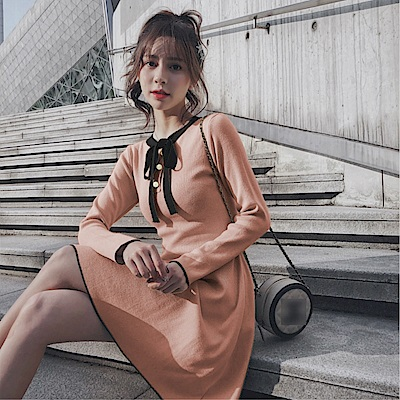 DABI 韓系蝴蝶結時尚名媛氣質長袖洋裝