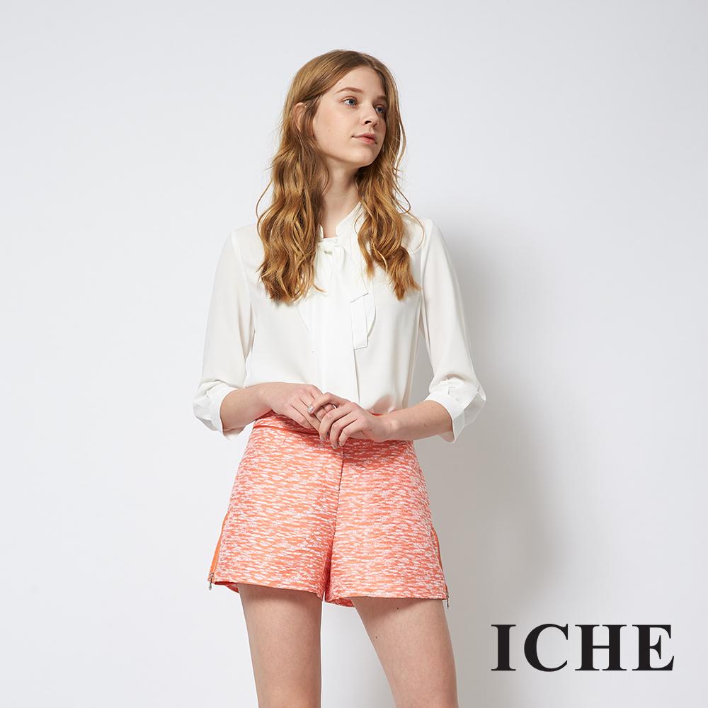 ICHE 衣哲 時尚提花拉鍊拼接百搭造型短褲