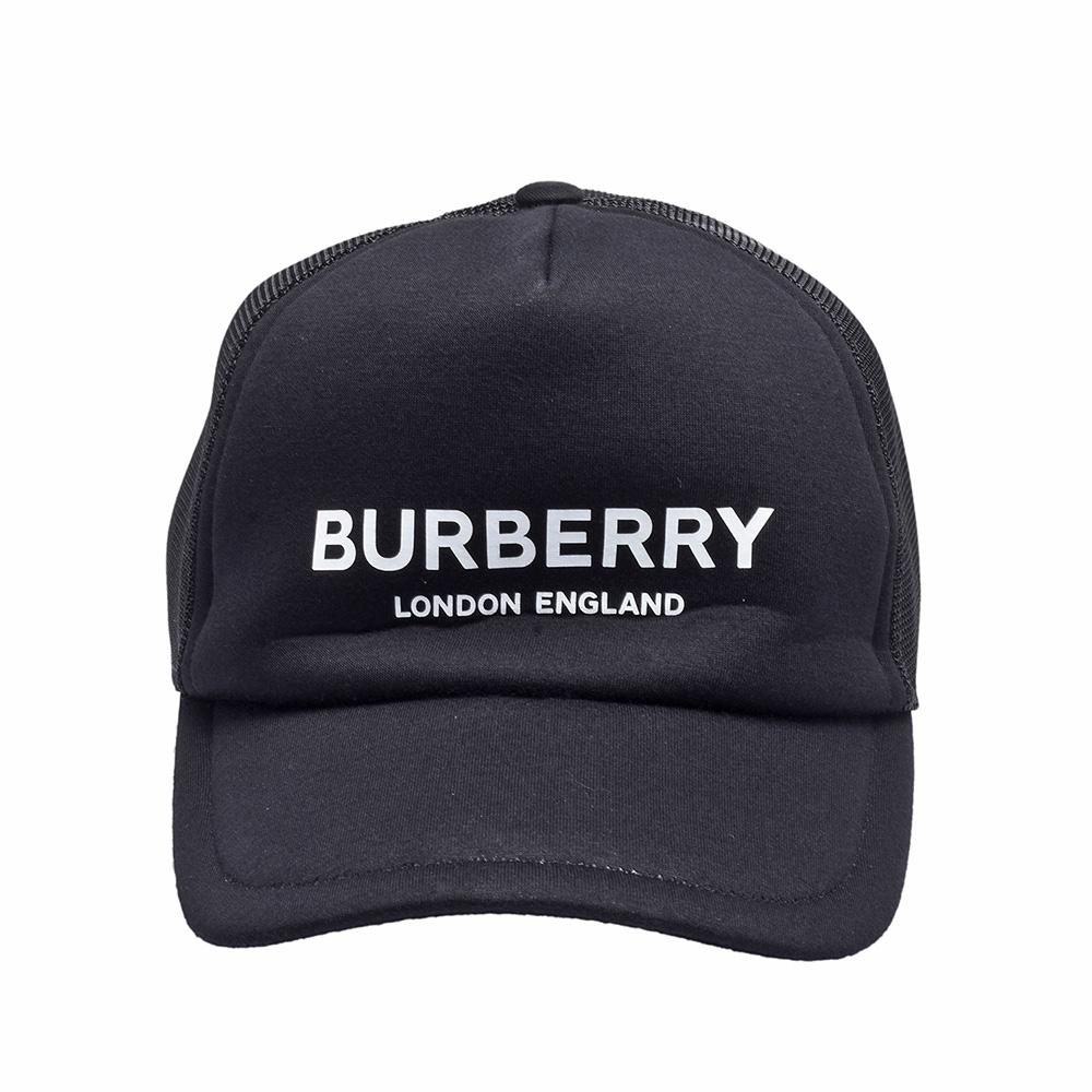 BURBERRY 經典品牌字母白色LOGO素面鴨舌帽(黑)
